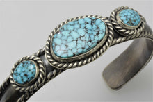 Load image into Gallery viewer, Kingman Turquoise Three Stone Woman's Bracelet
