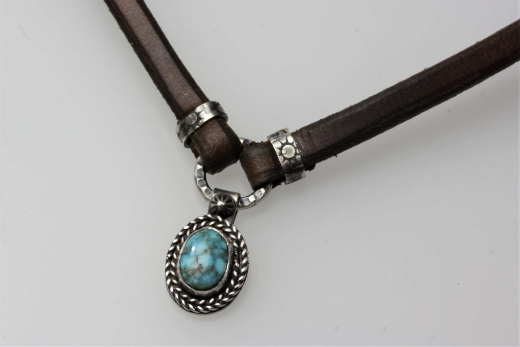 Leather Choker with Turquoise Mountain Small Pendant