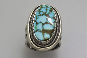 Red Web Turquoise Mountain Oval Ring