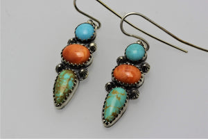 Campitos, Tyron and Spiny Oyster Shell Three Stones Earrings