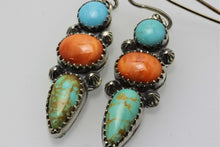 Load image into Gallery viewer, Campitos, Tyron and Spiny Oyster Shell Three Stones Earrings