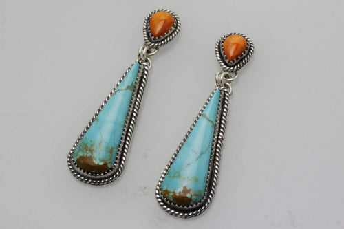 Kingman and Spiny Oyster Shell Teardrop Earrings