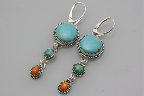 Round Kingman and Two Small Stones Earrings