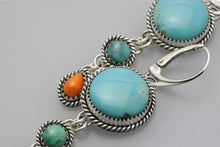 Load image into Gallery viewer, Round Kingman and Two Small Stones Earrings