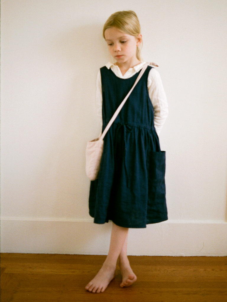 Claudia Pinafore Dress Night Blue