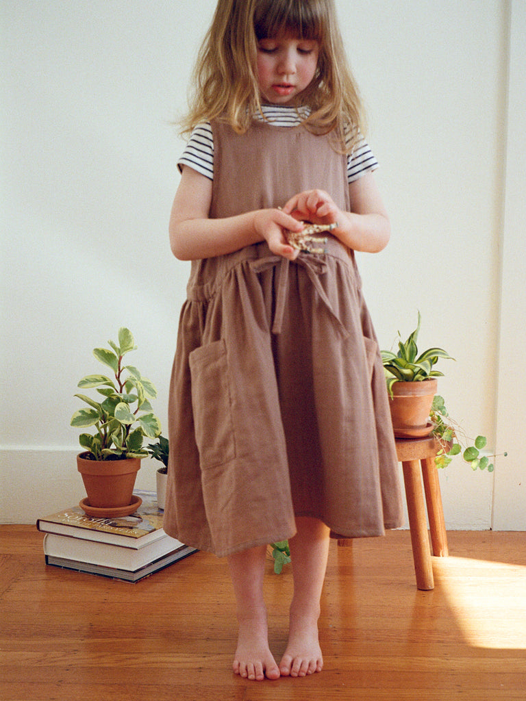 Claudia Pinafore Dress Mocha