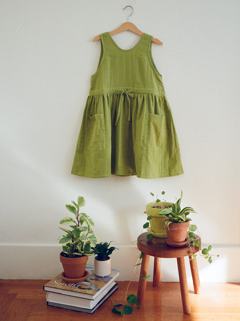 Claudia Pinafore Dress Spring Green