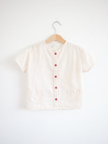 Olsa Shirt, Short sleeves, Tan Stripes