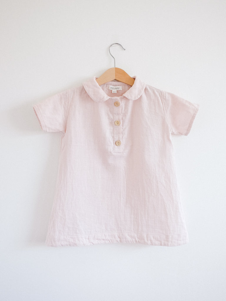 Agnes Tunic Dress, Short sleeves, Pale Pink