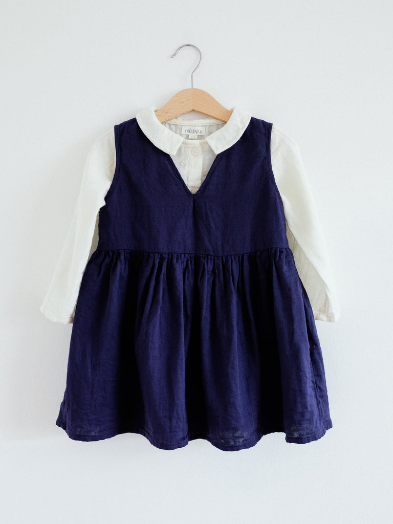 Beata Pinafore Dress, Night Blue