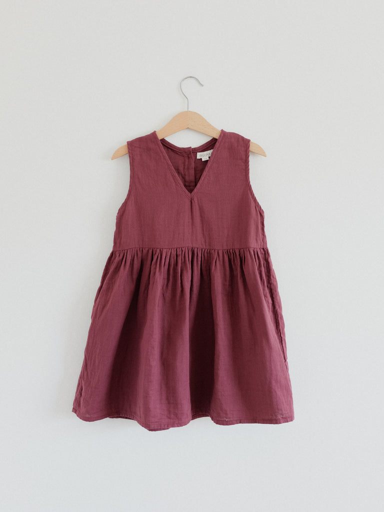 Beata Pinafore Dress Burgundy