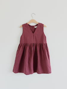 Beata Pinafore Dress, Burgundy
