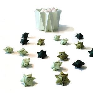 Mini cube stars for table or gift decoration 20 pcs - 10 green colors