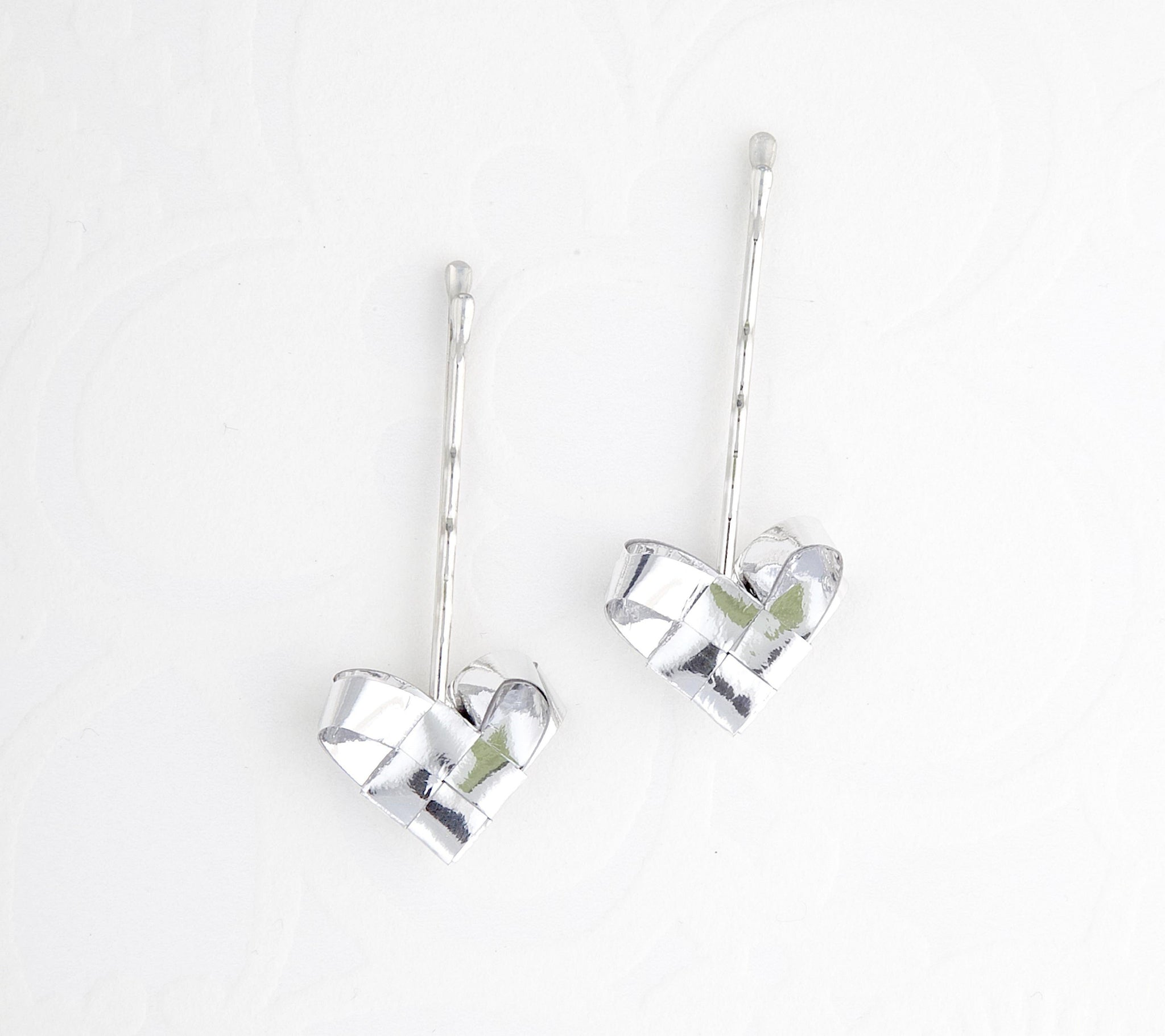 Silver hearts hairpins a set of two