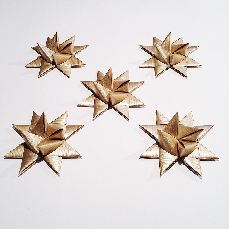 Gold half star with tape M - 5 pcs