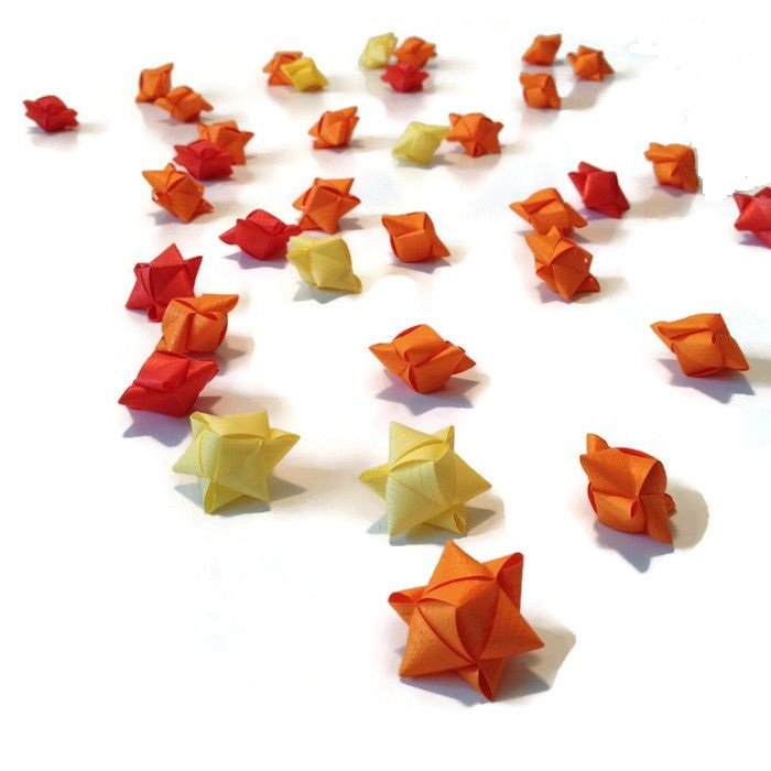 Mini cube stars for table or gift decoration 15 pcs - yellow or orange