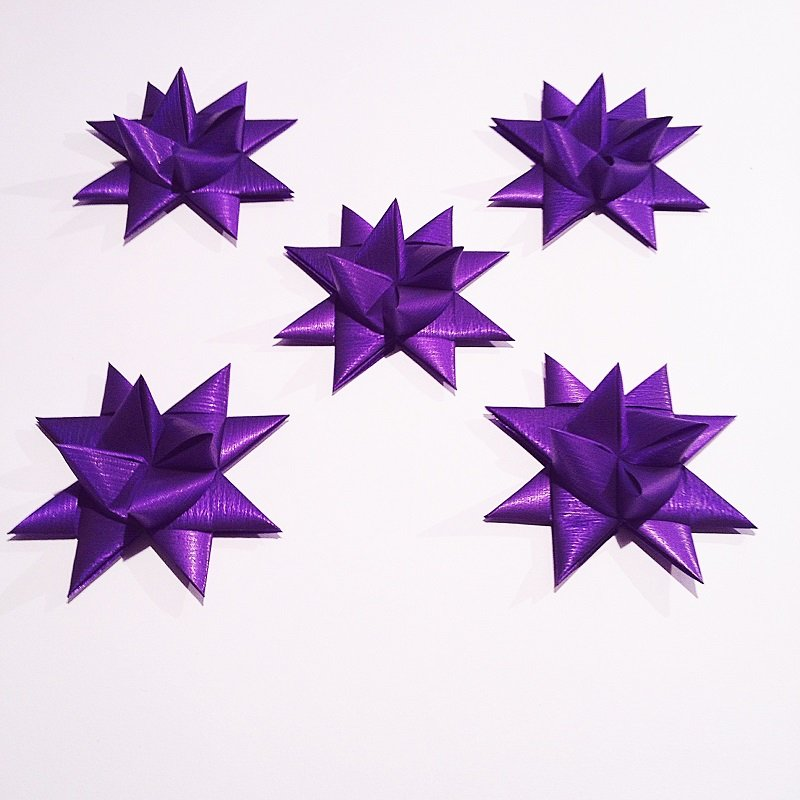 Purple half star with tape M - 5 pcs