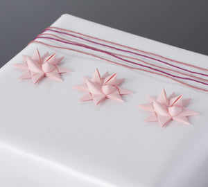 Pastel pink half star with tape S - 12 pcs