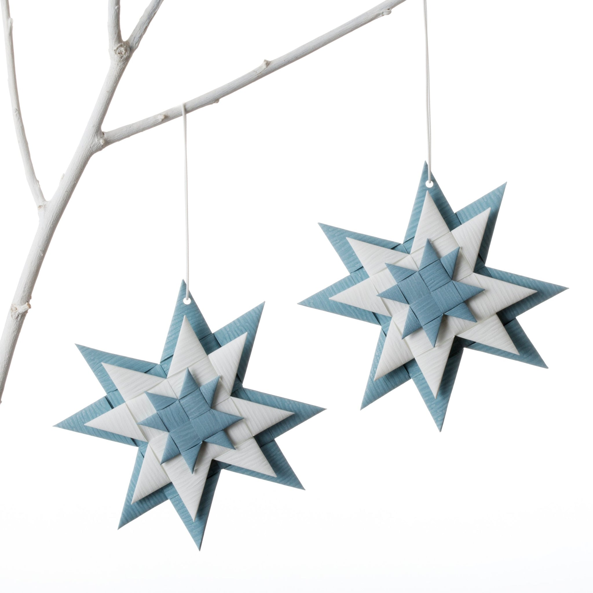 Flat 3D star - Gray Blue & White