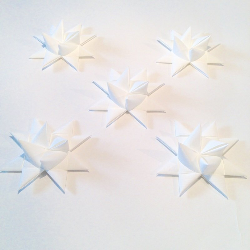 White half star with tape M - 5 pcs