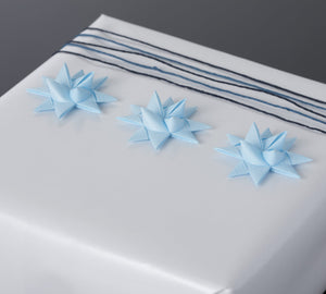 Light blue half star with tape S - 12 pcs