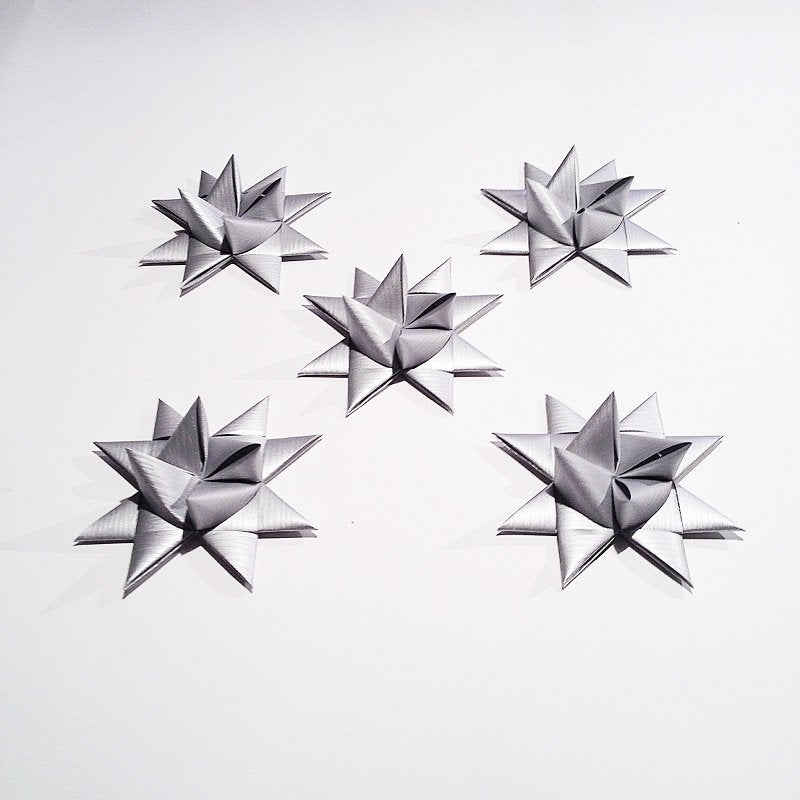 Silver half star with tape M - 5 pcs