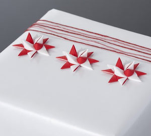 Red & White half star with tape S - 12 pcs