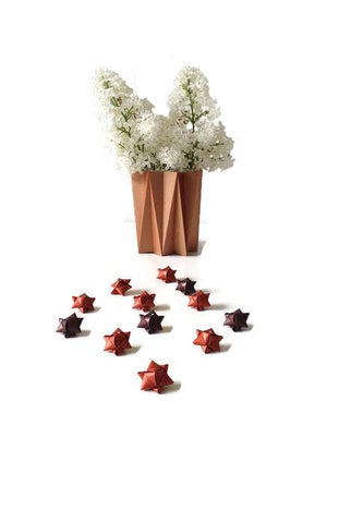 Mini cube stars for table or gift decoration 20 pcs - 4 brown colors