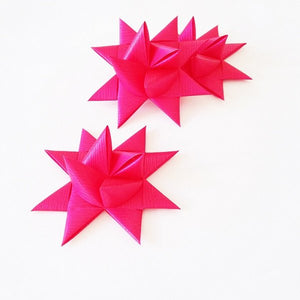 Cerise half star with tape L - 3 pcs