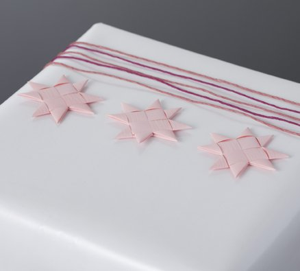 Pastel pink flat star with tape S - 12 pcs