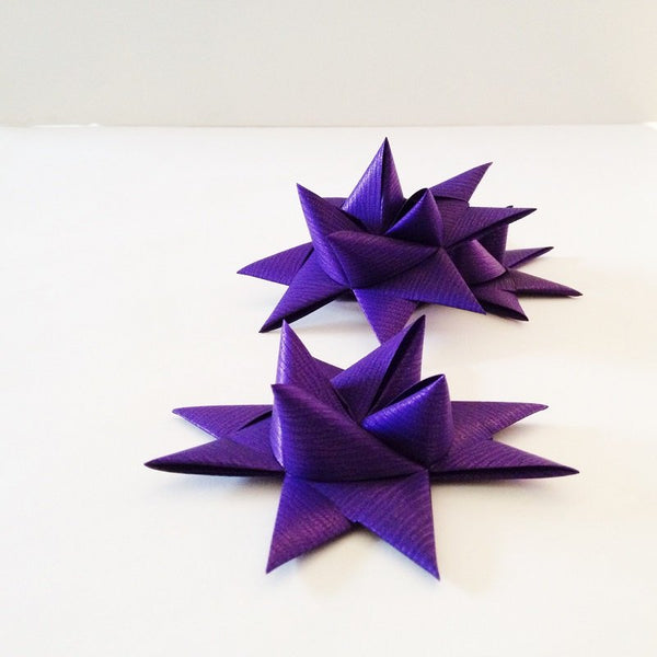 Purple half star with tape L - 3 pcs