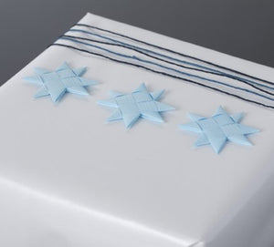 Light Blue flat star with tape S - 12 pcs