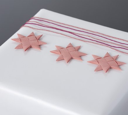 Coral flat star with tape S - 12 pcs