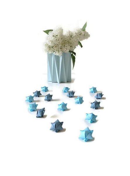 Mini cube stars for table or gift decoration 15 pcs - 6 blue colors