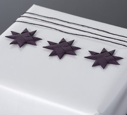Plum flat star with tape S - 12 pcs
