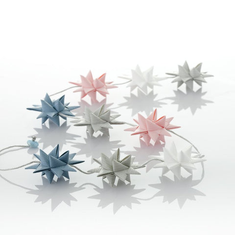 Pastel Rose & Gray Blue - star garland no 32