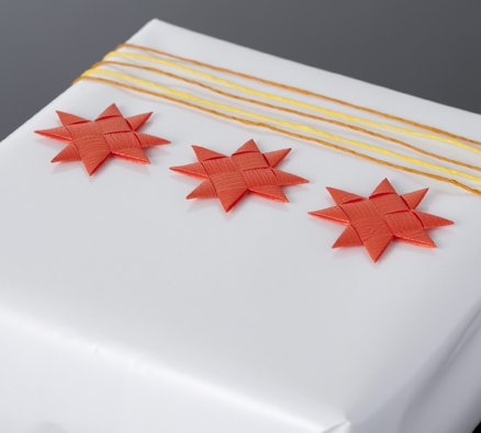 Mandarin flat star with tape S - 12 pcs