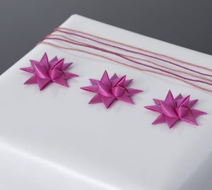 Fuchsia half star with tape S - 12 pcs