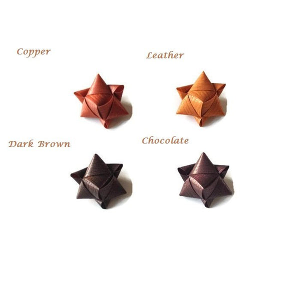 Mini cube stars for table or gift decoration 15 pcs - 4 brown colors