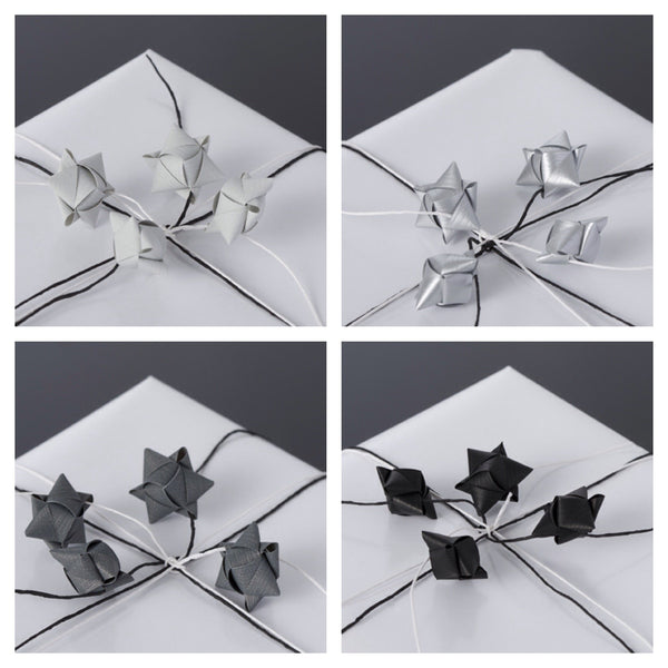 Mini cube stars for table or gift decoration 15 pcs - 4 gray colors