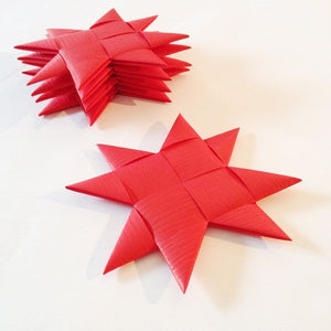 Red flat star with tape M - 5 pcs