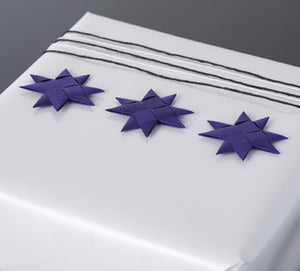 Purple flat star with tape S - 12 pcs