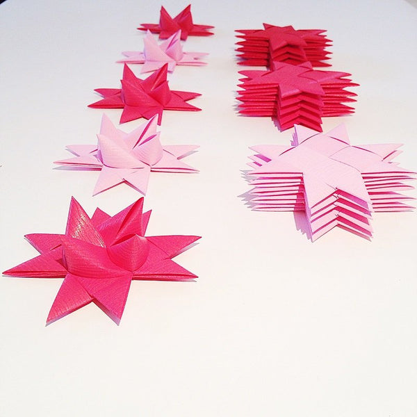 Pink half star with tape M - 5 pcs