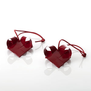 Dark Red painted hearts XS