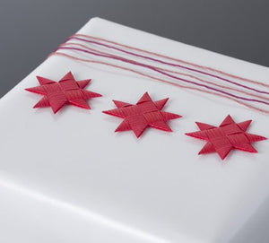 Cerise flat star with tape S - 12 pcs
