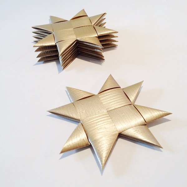 Gold flat star with tape M - 5 pcs