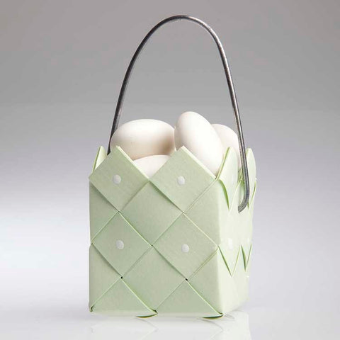 Basket soft green  with steel handle - 3 pcs