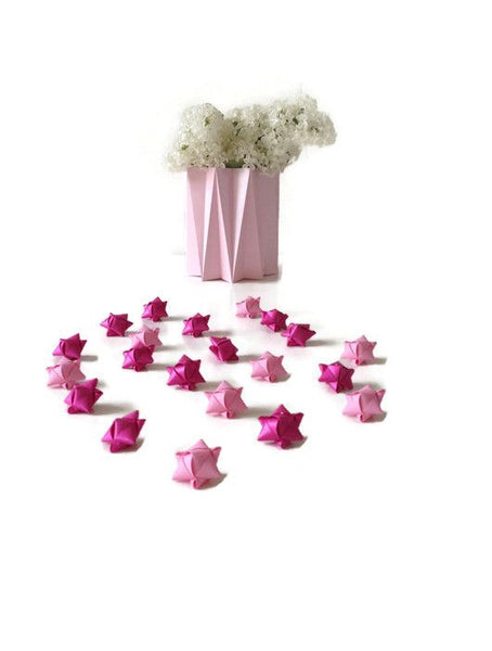 Mini cube stars for table or gift decoration 15 pcs - 6  pink colors