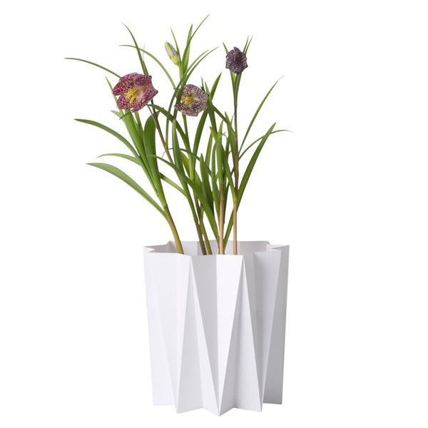 Origami cover vase - White M - 2 pcs