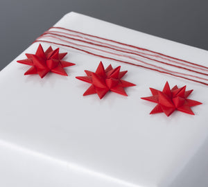 Red half star with tape S - 12 pcs